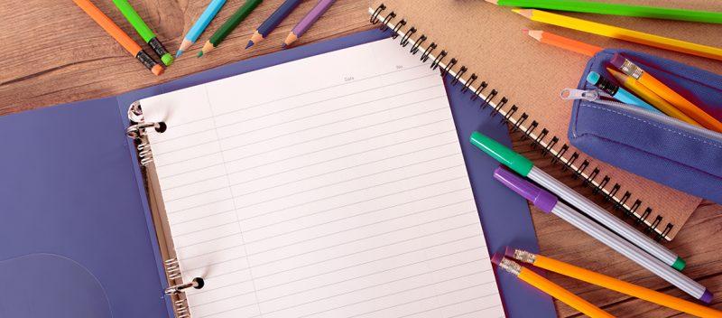 Binder, notepaper, pencils & pens