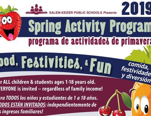 Spring Break FREE Lunch Program 2019 | Programa de actividades de primavera