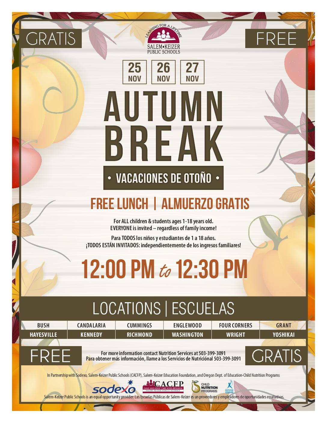 Autumn Break 2019 Elementary Flyer