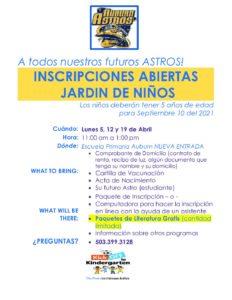 PDF of Kinder Registration 2021-22 in Spanish